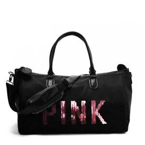Black Zipped Fashion Bag Holdall PINK sequin detail Gym Shopping School