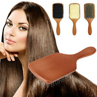 Natural Wood Paddle Brush Wooden Hair Care Spa Massage Large Anti-static Comb