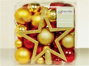 Assorted Finish Bauble 50 Piece Pack Red/Gold Christmas tree decoration