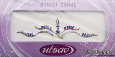 Bindi violet dore bijoux de peau mariage autoadhesif strass front sourcils 3633