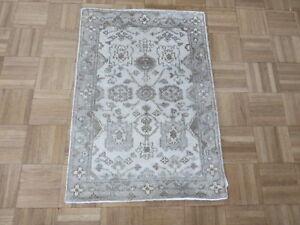 1'11 X 2'10 Hand Knotted Ivory Gray Bamboo Silk Oushak Oriental Rug Ushak G5733