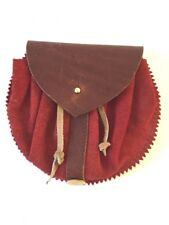 SATTLEREI ST. MORITZ Medieval Red & Brown Leather Coin Pouch Belt Purse I-3