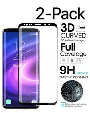2x Black Full Cover Tempered Glass Screen Protector Samsung Galaxy S9 S8 N8 S10+