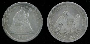 1857 25c Seated Liberty Quarter Dollar No Arrows or Rays Silver U.S. Coin