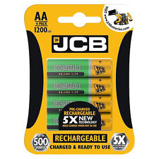 4 x JCB AA 1200mAh Rechargeable Batteries HR6 Charged