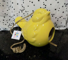 Bird Feeder Ceramic Shaped Bird Home Yellow Hand Made in Vietnam New*