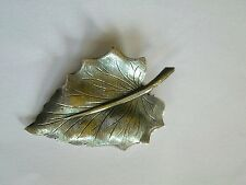 UK SALE.Vintage Modernist Beau Sterling silver leaf textured pin brooch,1950s 6g