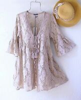 New~$88~Tan Crochet Lace Peasant Blouse Kimono Duster Boho Top~Size Medium M