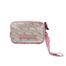 Portafoglio Hello Kitty Borsello 2 Tasche Trapuntato con Zip e Logo in Rilievo