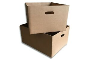 """10 x Handy Large Open Top Boxes 21"""" x 15.5"""" x 10.5 - Heavy Duty Storage Office"""