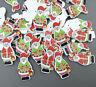 100PCS Christmas Santa Claus Buttons Wooden decoration crafts Scrapbooking 35mm