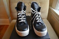 SAVIO BARBATO COOL BLACK LEATHER HIGH TOP WHITE BACK RIBS SNEAKERS SHOES 43 10