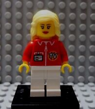 LEGO Town Girl Female TV New Reporter Broadcaster Minifig with Stand Blond Hair
