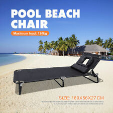 Folding Beach Chair Tanning Reclining Sun Bed deck Lounge pool Adjust Head Back