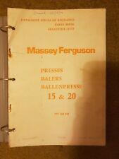 MASSEY 15 et 20 Botteleuse Pièces Manuel réimpression 957160m5