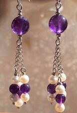 Natural GEMMY AMETHYST Pearl 22ct Sterling Silver Purple Dangle Tassel Earrings