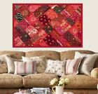 """60"""" RED VINTAGE SARI THREADWORK BEADS PEARL WALL DECOR HANGING THROW TAPESTRY"""