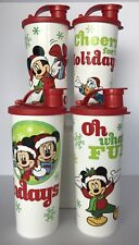 Tupperware Disney Mickey Mouse and Friends Christmas Holiday Tumblers Set of 4