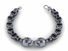 Men's Biker Chain 200 MM Skull Heavy Bracelet In Oxidized 925 Sterling Silver