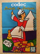 affiche  originale  codec 1970  produits bretagne bretonne garanti d'poque