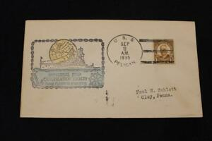 NAVAL COVER SHIP CANCEL 1935 HAND COLORED USCS CACHET USS PELICAN (AM-27) (887)