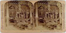 Japon.Japan.Omori.Interieur d'un Temple de Boudha.Photo Stereo albuminée.9x18cm