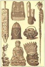 ASIATIC ART.Fetich Nias;Aino Shuttle;Bashkir;Buddha;Japan Kettle;Singhalese 1907