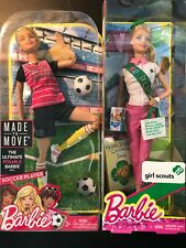 New ListingLot of 2 Barbie Dolls - Made-To-Move Soccer & Blonde Girl Scout Dvf69 Bjp31 Nrfb