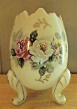 "VINTAGE Easter EGG CUP VASE 1962 HAND PAINTED INARCO Roses Gold Trim 5"" tall"