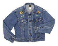 Vintage LEE Denim Jacket L Large Womens Vtg WESTERN Jean Coat Hippie Sun Flower