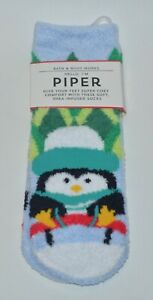 NEW BATH & BODY WORKS BLUE PIPER PENGUIN SHEA INFUSED LOUNGE SOCKS NON SKID COZY