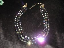 VINTAGE 3 STRAND NECKLACE IRRIDESCENT BLUE HEAVY GLASS FACETED BEADS M GERMANY