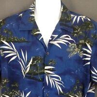 RJC Hawaiian Shirt XL Blue  Cotton Palm Trees Islland Volcanoes Aloha