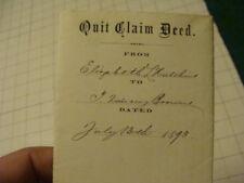 VINTAGE Original QUICK CLAIM DEED - 1893 HUTCHINS to BROWNE --SUFFOLK MA