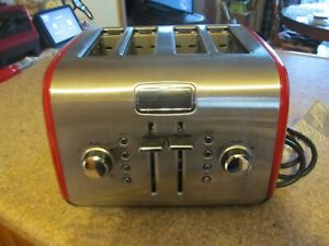 KITCHENAID KMT422ER1 RED/SILVER STAINLESS STEEL 4 SLICE BAGEL/TOAST TOASTER -AP
