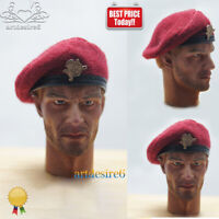 "1/6 Scale Accessory Red Beret Hat Cap Model For 12"" Soldier Action Figure Head"