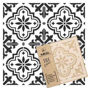 VALETTA Tile reusable PLASTIC Stencil // 10x10cm to 60x60cm / Spanish Floor Wall