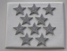 10 X EDIBLE SILVER FONDANT GLITTER STARS. CAKE DECORATIONS - LARGE 4cm