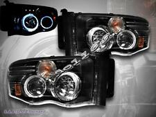 02 - 05 Dodge Ram Dual Angel Eye Halo Ring Projector Headlights LED Black