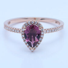 Pear 6x8mm1ct Tourmaline Halo SI Diamonds Gemstone Engagement Ring 14k Rose Gold