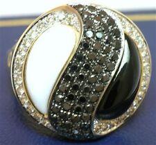 5.43ct Agate, Onyx, Black & White Diamond 9ct 9K Solid Gold Ying Yan Ring - SZ 7