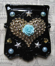VANITY MAKEUP MIRROR PURSE HEART ROSE BLACK GOTHIC KAWAII DECODEN DECO DEN
