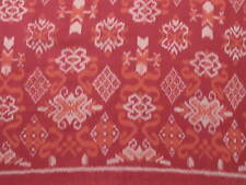 HAND WOVEN RED, ORANGE COTTON IKAT FABRIC BY THE YARD
