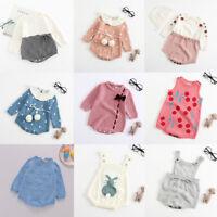 Infant Newborn Baby Boy Girl Print Knit Romper Bodysuit Crochet Clothes Outfits