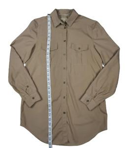 Burberry Brit 100% Silk Button Down Longsleeve Shirt Top Sz XS Khaki / Olive