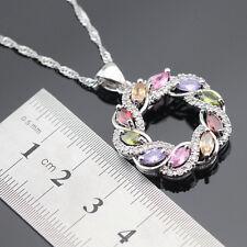 Amethyst garnet peridot topaz 925 Silver Gemstone Pendant Necklace Gift Box