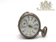 Alte Taschenuhr aus 800 Silber mit Email am Ziffernblatt.