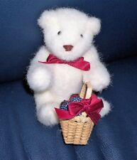 "NABCO Bearry Many Thanks Fuzzy Greetings Vintage 5.5"" Teddy Bear W. Gift Basket"