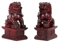 Pair Feng Shui Lion Statue Evil Guardian Door Fu Foo Dog Animal Figurine