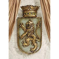 Medieval Roaring Rearing Lion Emblazoned Crest Shield Middle Ages Wall Sculpture